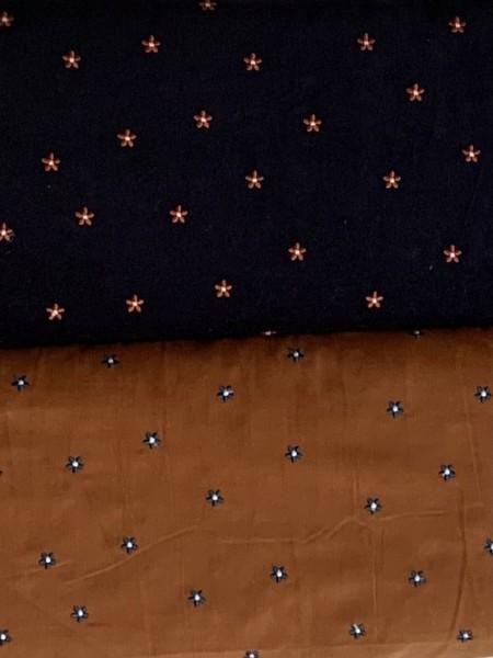 Babycord Blumenstick Cognac/Nachtblau
