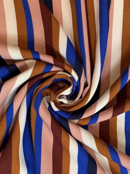 Viskose Streifen Blau/Braun/ Weiß