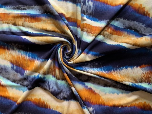 Viskosejersey Blau/ Orange Batik