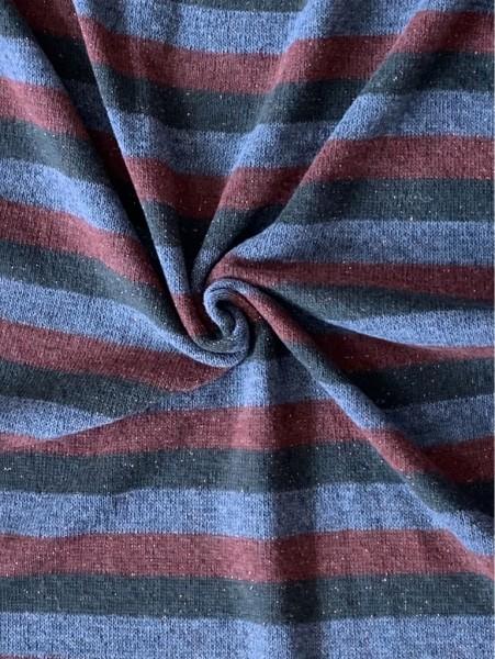 Strickstoff Lurex Stripes Rot/Grün/Grau