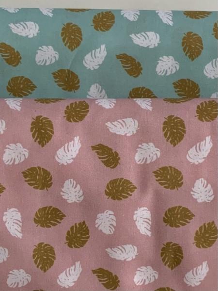 Baumwollwebstoff Blätter Mint/Rosa